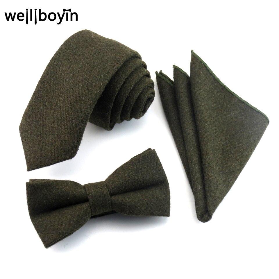 100% Wool Tie Set Dark Green Men's Ties Bowtie Pocket ...