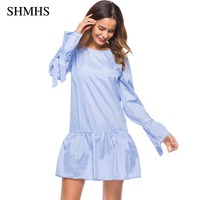 SHMHS Women Oversized Pleated Plaid Dress Ruffles Checkered Long Bow Tie Sleeve Loose Elegant Spring Casual