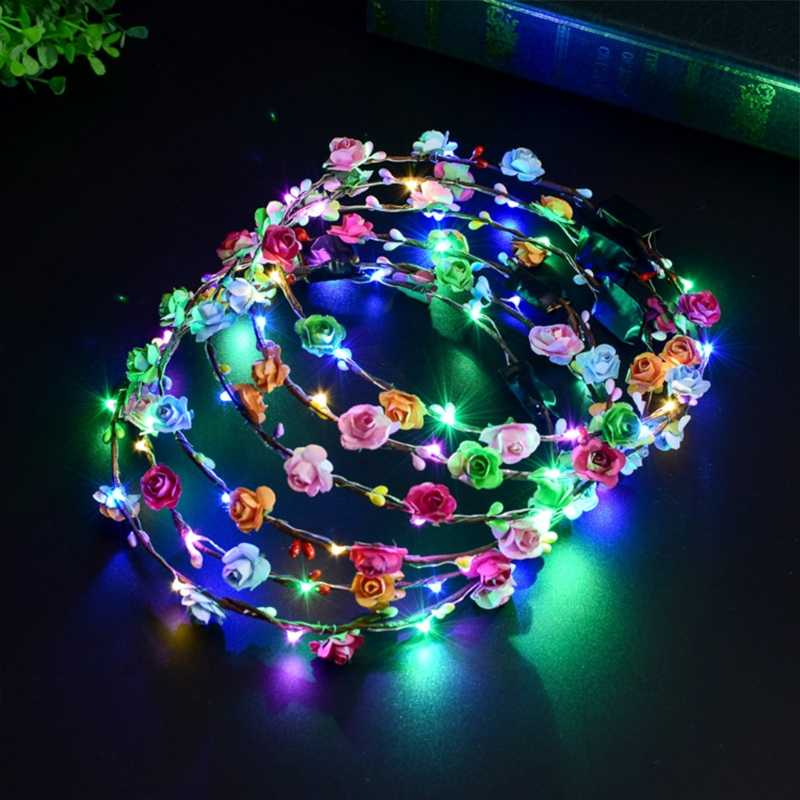 Drop & Wholesale kobiety dziewczęta LED Light Up kwiat pałąk miga Glow Crown peruki imprezowe wieniec APR28