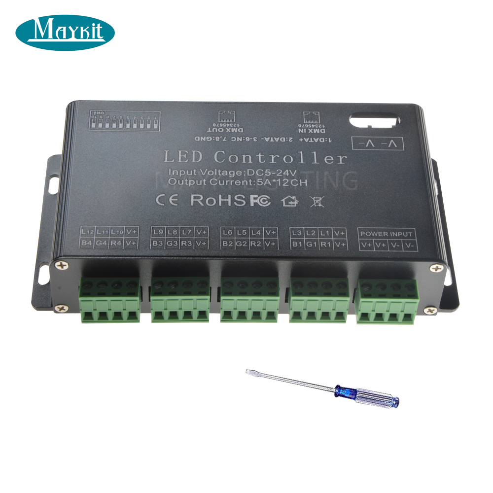 Maykit 12 Channels DMX Decoder 5A 12CH DC5V - DC24V For LED RGB Strip Lighing DMX Controller