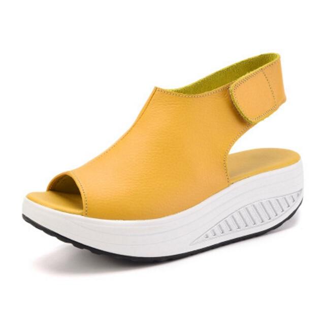 2018 Summer Genuine leather Women Sandals Casual Peep Toe Swing Shoes Ladies Platform Wedges Sandals Woman fitness Sandalias