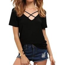 Women T Shirt 2017 Summer Fashion Bandage Sexy V Neck Criss Cross Tshirt Casual Female T-shirt Plus Size Lady Tee Shirts