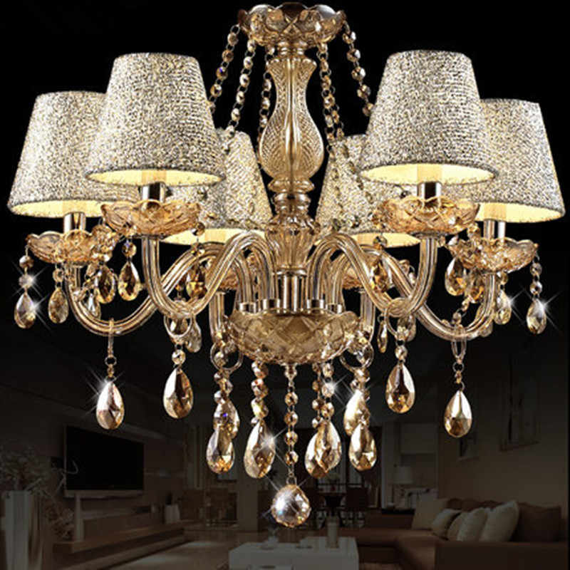 2019 Hot Lustre para sala Luxurious European Style Chandelier 6 Arms Diameter 58cm Living Room Luxury Lamp lustre para quarto