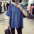 Estilo Harajuku verão Novo Solto Oversize Camisetas para As Mulheres M-2XL Bolso Grande Irregular Cor Sólida camisa de Manga Curta T Feminino