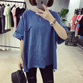 Harajuku verano Nuevo Estilo Flojo de Gran Tamaño Camisetas para Las Mujeres M-2XL Bolsillo Grande Irregular de Color Sólido de Manga Corta camiseta Femenina