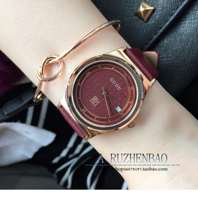 Fashion GUOU Brand Ladies Watch quartz Genuine Leather Luxury strap watch student calendar Water Resistant Womans Wristwatches