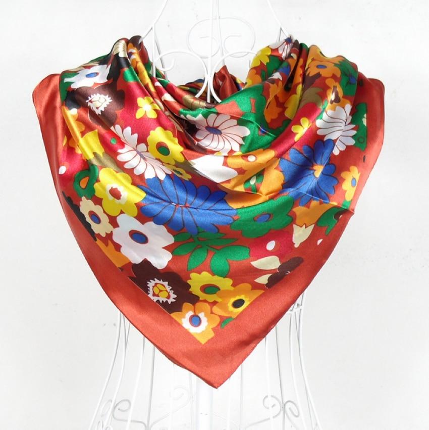 1bed7c4fd1f8  BYSIFA  femelle Motif Floral Satin Foulard Imprimé 90 90 cm Foncé Rouge  Polyester Satin Foulards En Soie Châle Pour L automne hiver