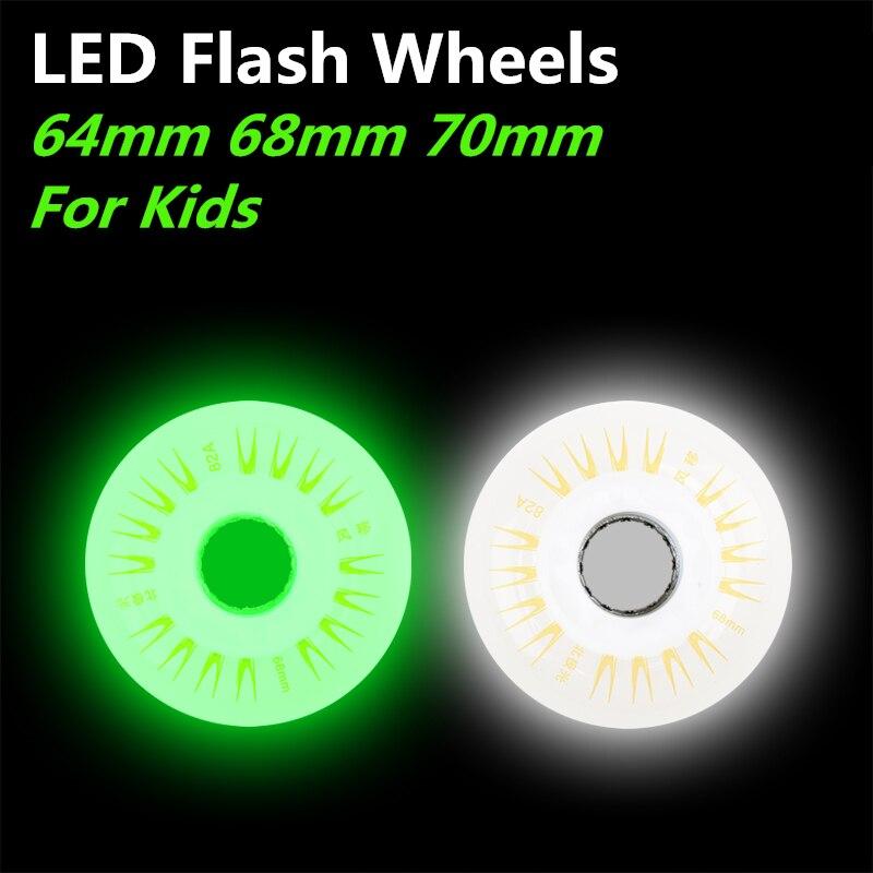 Prix pour Enfant 64 68 70mm Flash Rouleau Roues Avec Entretoises 82A LED Lumière Roulettes 8 Pièces/lot De Patinage WheelsFree gratuite