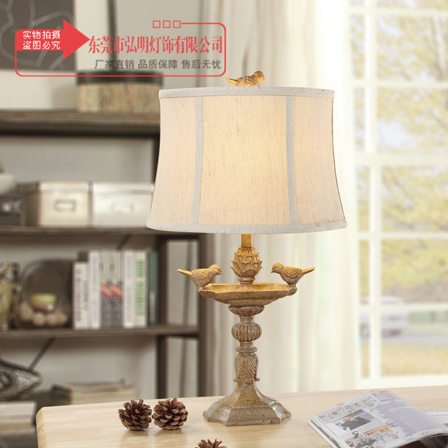 TUDA American Country Retro Table Lamps Bird Statue Table Lamps For Bedroom  Night Stand Lamp Luxurystudy