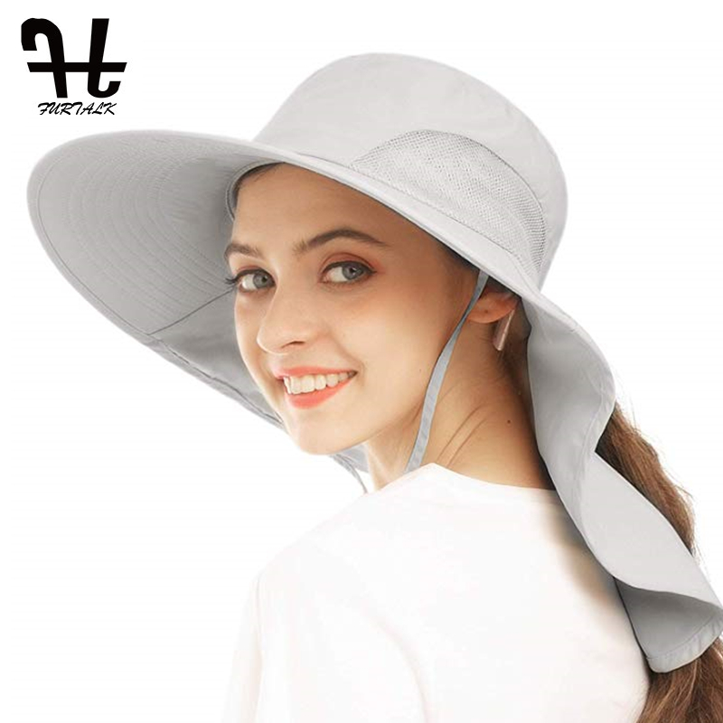 FURTALK Sun Hat For Women Summer Ponytail Safari Hats With Neck Flap Wide Brim Breathable Sun Protection Fishing Hiking Hat
