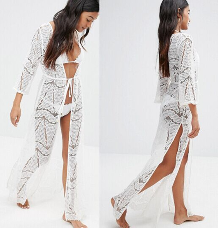 Vintage Women Dress 2017 Fashion Boho Sexy Hollow Lace Crochet Dress Beach Party Long Dress