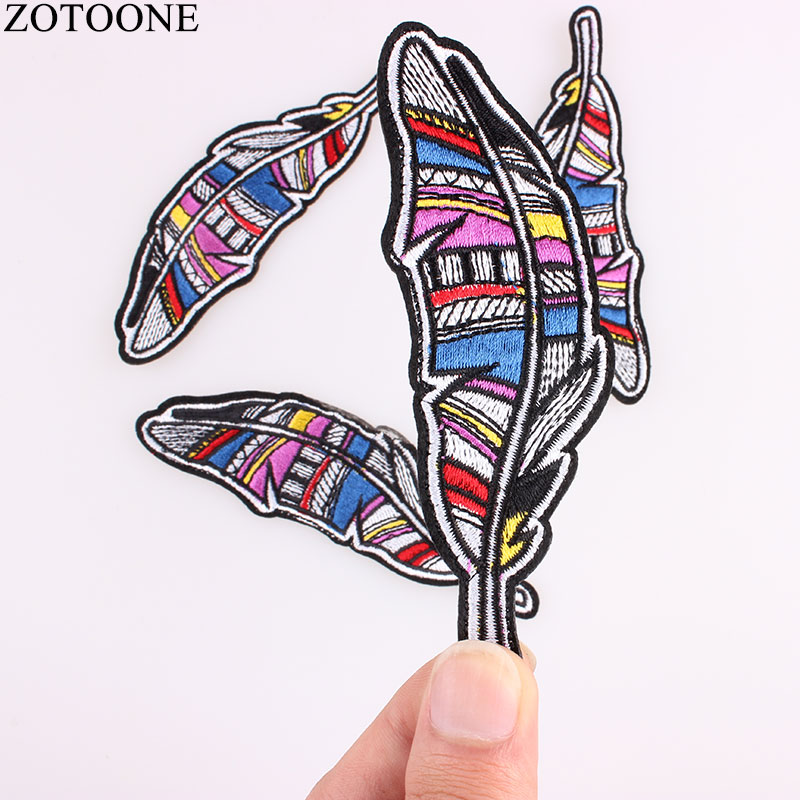 New <font><b>Feather</b></font> Cartoon Iron On Patches For Clothes Cheap Embroidered Fashion DIY Applique Cool Logo Badges <font><b>Kids</b></font> <font><b>Jacket</b></font> Applications image