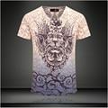 2015 мода топ летние мужчины футболка повседневная одежда бренд Футболка мужская с коротким рукавом Топы Тис Тонкий Стрейч