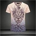 2015 top fashion homens verão T camisa marca de roupas casuais T-shirt dos homens de manga curta Tops Tees Magro Trecho