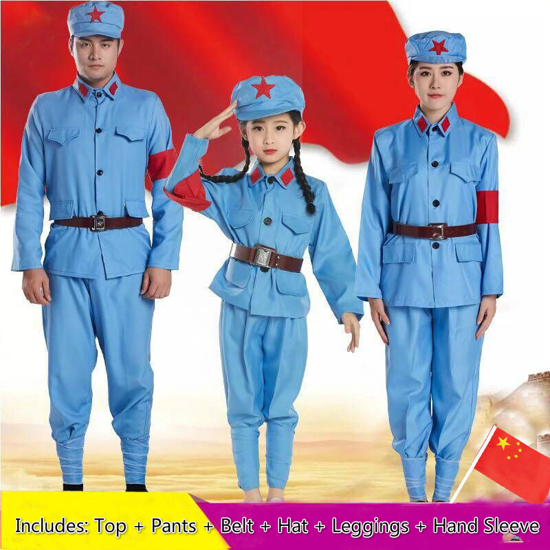 Chinese Traditional Folk Military Uniform Costumes The Eighth Route Army Clothing Wearing Red Guards Clothing Anti-war Uniforms