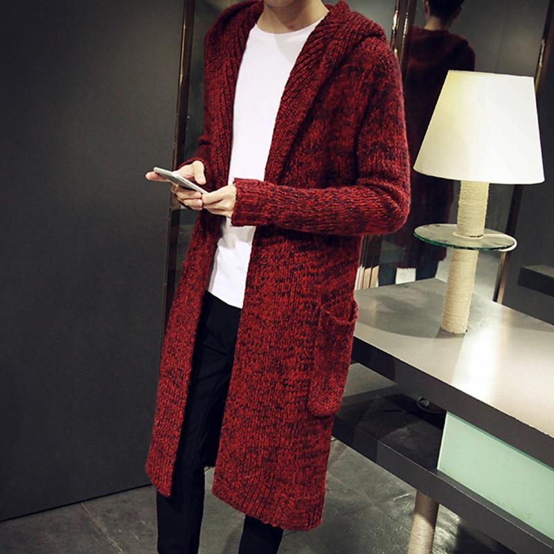Autumn Winter Loose Long font b Mens b font Cardigans font b Sweaters b font New