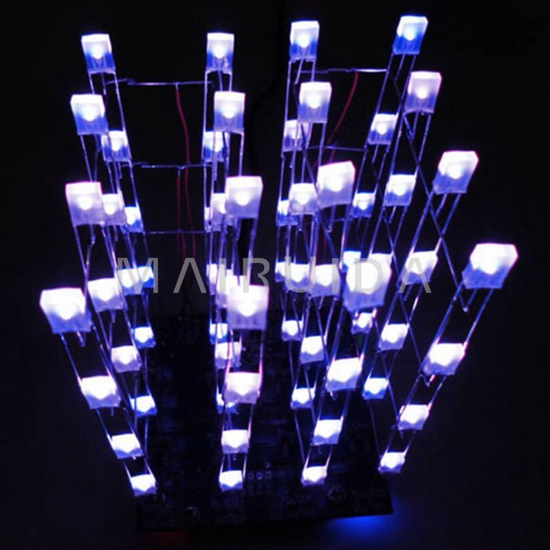 Blue Ray 3D <font><b>LED</b></font> LightSquared <font><b>4x4x4</b></font> 2*5*7MM <font><b>LED</b></font> <font><b>Cube</b></font> <font><b>LED</b></font> Blue Ray