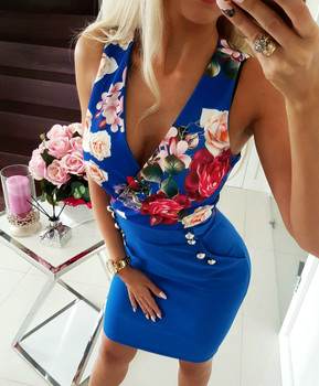 White Low Cut V Neck Floral Print Women Vestidos Blue Bodycon Dress Summer 2019 Mini Package Hips Dresses Sexy Office Dress Lady 2