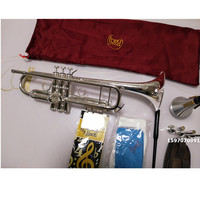 American Original Bach AB190S Trumpet Silver Plated Gold Bach Trumpete Professional Musical Instruments with Case free shipping