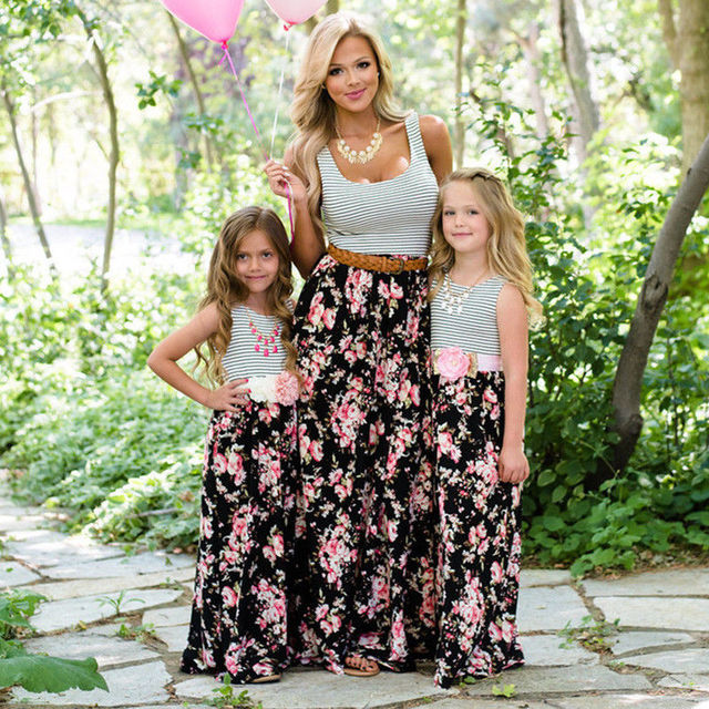 d6bc41b53052 Women Girls Boho Beach Summer Maxi Long Floral Party Dress Family Matching  Clothes mother daughter dresses Elegant vestidos