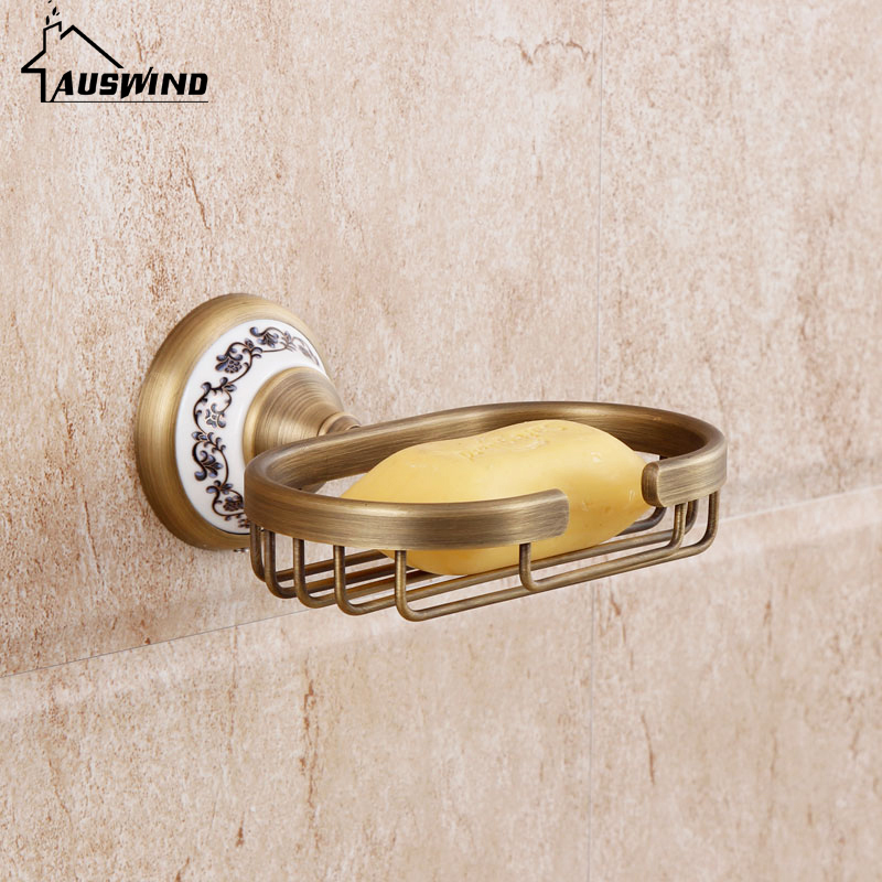 European Solid Brass Soap Dishes Round Base Soap Dish Bronze Porcelain Soap Net Vintage Bathroom Accessories Products
