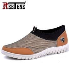 REETENE 2019 Summer Mesh Shoe Sneakers dla mężczyzn buty oddychające męskie obuwie Slip On buty męskie mokasyny Casual Walking 38 48