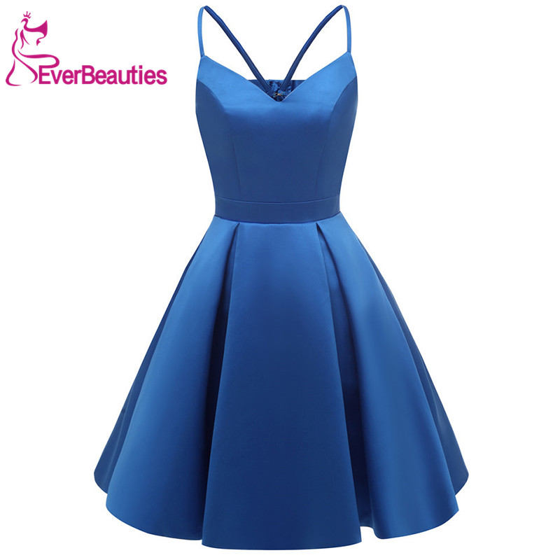 Hot DealsHomecoming-Dresses Royal-Blue Satin Pockets Knee-Length with Spaghetti-Straps Short Women─