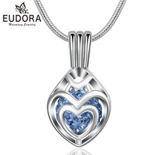 Eudora Heart to Heart Cage Pendant Necklace with Crystal Necklace for Women Girls Fashion Jewelry Anniversary Gift  High Quality high quality love heart pendant fashion women casual luxury necklace 2019 new jewelry
