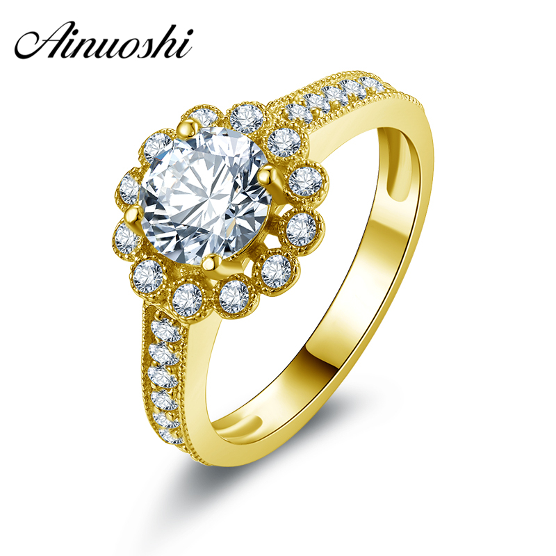 AINUOSHI 10k Solid Yellow Gold Wedding Ring 1 ct Round Cut CZ Engagement Fine Jewelry Customized Flower Shape Women Wedding Ring noble simple style round flower shape cuff ring for women