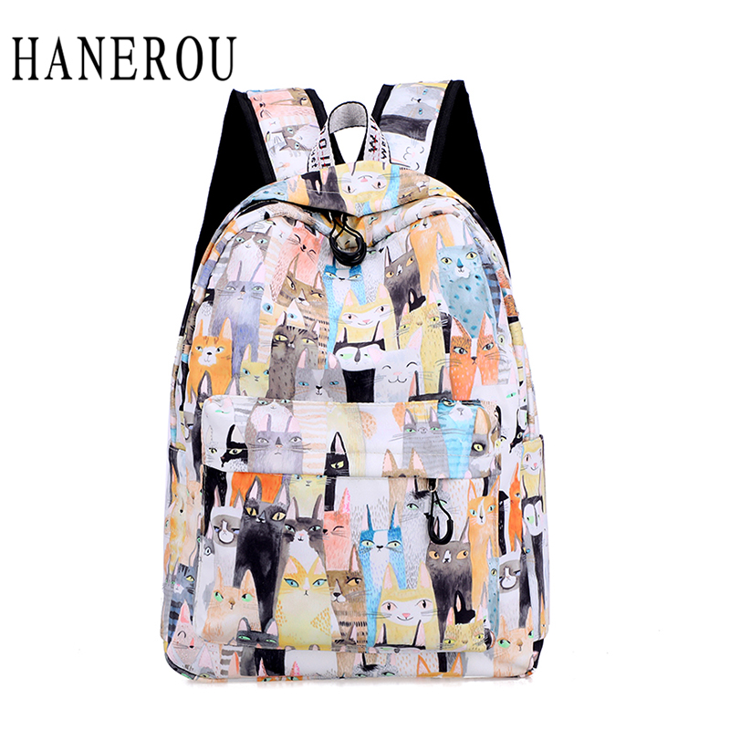 b143ddb6d8 HANEROU Preppy Style Backpacks Animal Prints School Bag Flamingo Prints  Backpack Pink Book Bag For Teenager Girls Canvas Bags