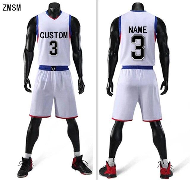 ZMSM 2018 Men Basketball jerseys Sets Quick Dry Sportswear Basketball Shirt  shorts Custom Basketball Vest Training uniform LQ179 d52360fd3