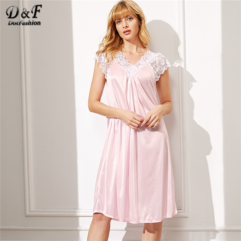 Dotfashion Floral Lace Satin Night Dress Women Pink V Neck Casual Sleepwear 2019 Cap Sleeve Lingerie Female Summer Night Dress