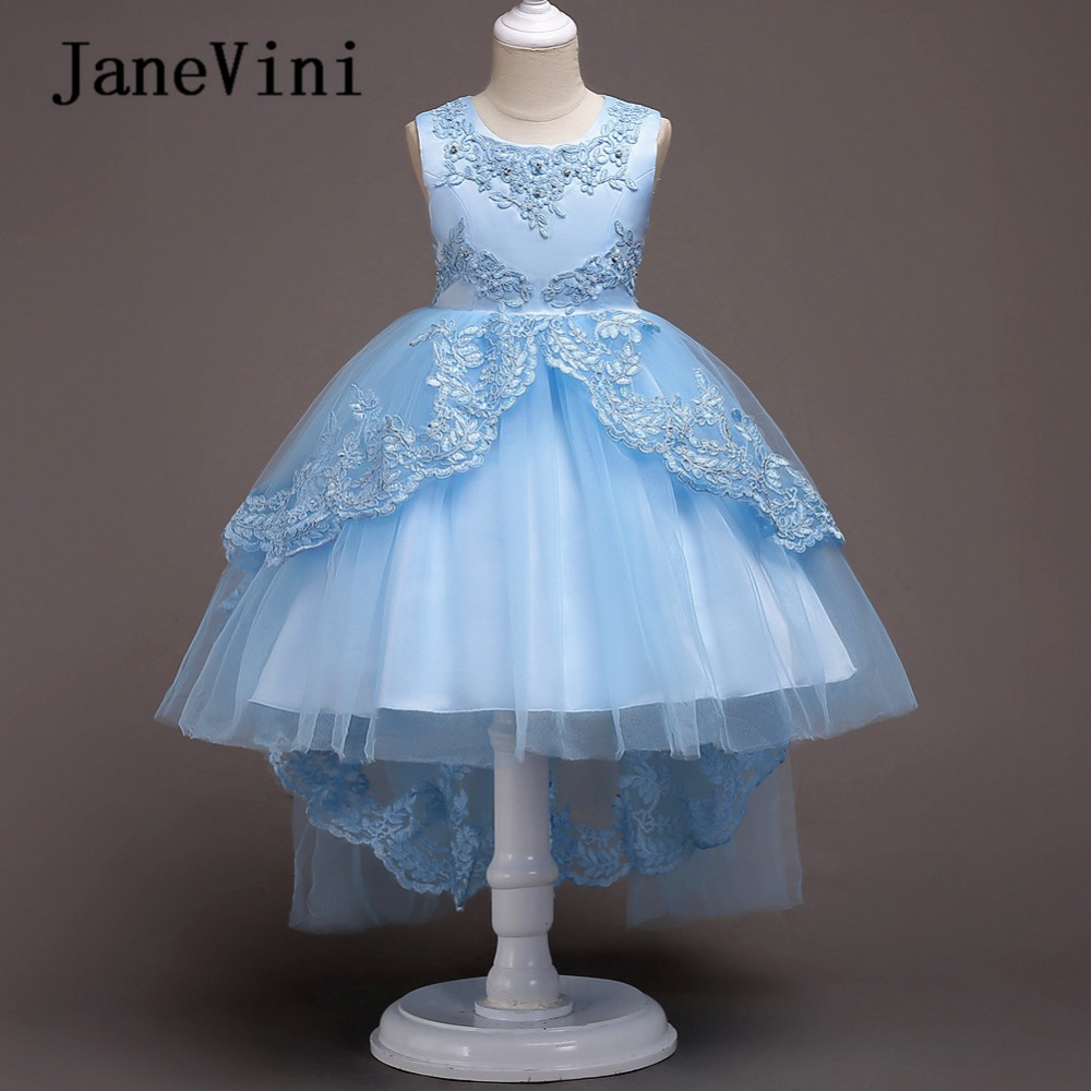 JaneVini High-Low Kids   Flower     Girls     Dresses   for Evening Party Princess Ball Gown Beading Lace Appliques Wedding   Flower     Dresses
