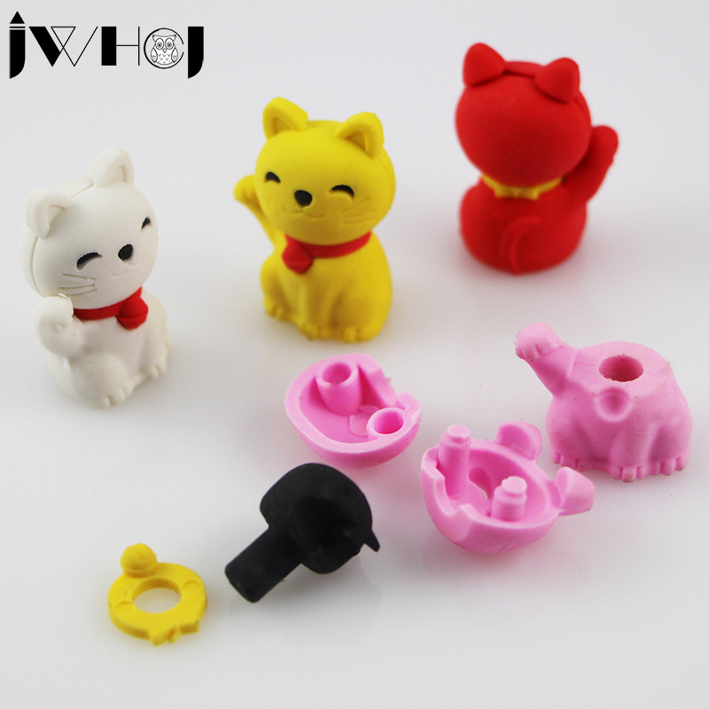 2 Pcs/lot  Cartoon Plutus Cat Modelling Eraser Kawaii Stationery School Office Supplies Correction Supplies Child's Toy Gifts