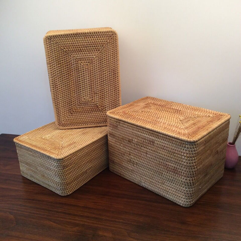 Laundry Basket Wicker Large with Cover Rattan Woven Rattan Storage Basket with Lid for Dirty Clothes