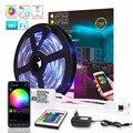 WI-FI Bluetooth RGB LED Light Strip SMD 2835 15M DC12V 10M Fita LEVOU À Prova D' Água Fita Diodo 5M ledstrip flexível Controlador de Música
