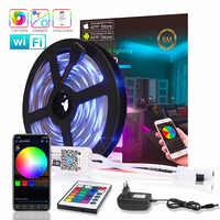 WIFI Bluetooth RGB LED tira de luz SMD 2835 15M 10M LED cinta DC12V impermeable cinta diodo 5M Flexible Ledstrip controlador de música