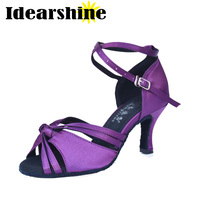 2017 Brand Purple Satin Latin Dancing Shoes Women S Shoes Salsa Party Ballroom Dancing Shoes 6157
