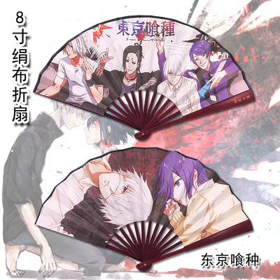 Anime folding fan Attack on Titan Natsume 39 s Book of Friends Tokyo Ghoul Black Butler 27cm length Dark brown vintage bamboo in Costume Props from Novelty amp Special Use