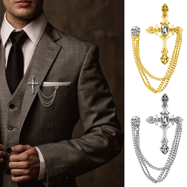 4ef56ce6f40 Men Trendy Rhinestone Cross Chain Brooch Lapel Pin Shirt Suit Wedding  Accessory