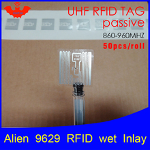 RFID tag UHF sticker Alien 9629 wet inlay 915mhz868mhz 860 960MHZ Higgs3 EPC 6C 50pcs free shipping adhesive passive RFID label