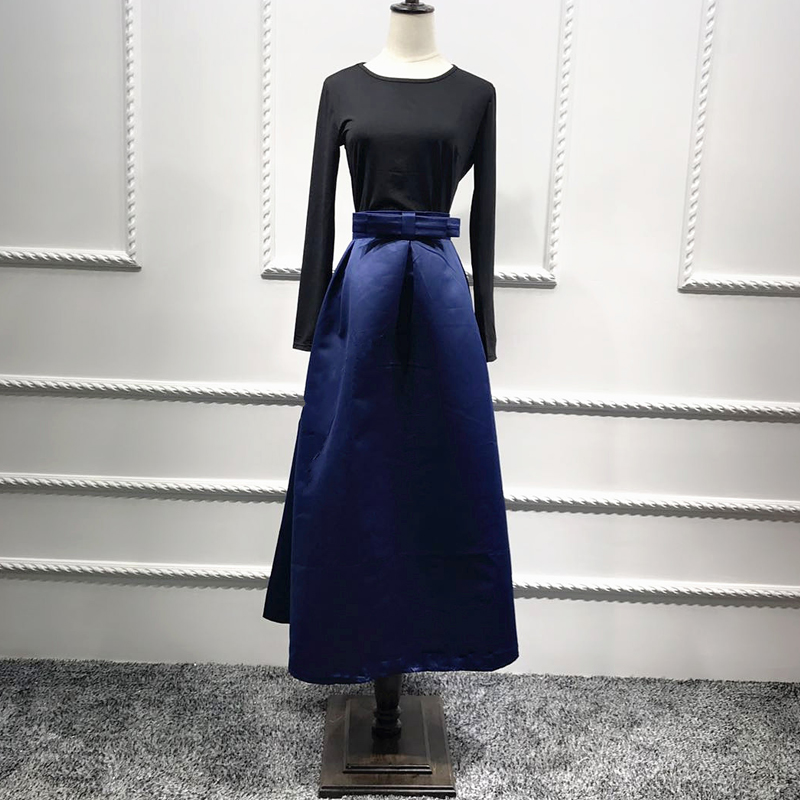 Plus Size Skirts Faldas Mujer Moda 19 Abaya Dubai Turkish Long Pleated Maxi High Waist Skirt Women Jupe Longue Femme Skirts 16