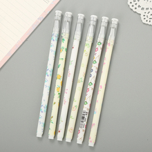 4pcs/lot Fresh small floral 0.5mm flower gel pen black ink Gel Pen Promotional Gift Stationery School & Office Supply 4pcs lot 0 5mm cheese cat head pendant gel pen promotional gift stationery school