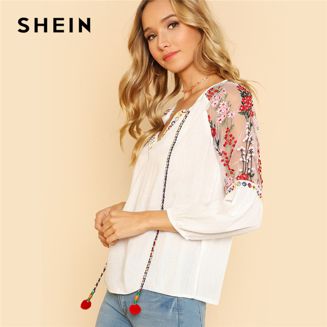 SHEIN Bohemian Boho Floral Mesh Blouse Shoulder Pom Pom Embroidery Womens  Tops and Blouses Tie Neck Prairie Chic Tunic Top 870d135c92