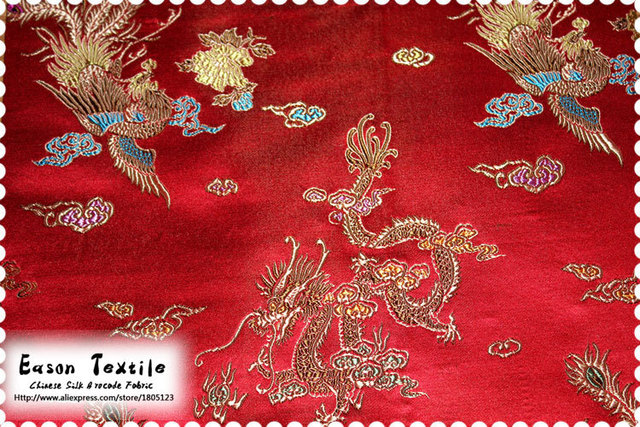 40ba15fc04aba Cheongsam Fabric Chinese silk brocade cushion traditional red background  with colorful Dragon and Phoenix forever love dress