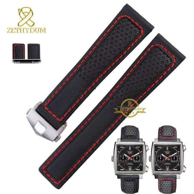 Натуральная кожа браслет ремешок ремешок для часов мужские наручные часы лентой красного сшитые 22 мм аксессуары часы складчатого пояса пряжки