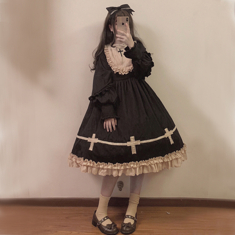 Gothic Sweetheart Doll Black Dress Ruffles Lace Cross Patchwork Woman Party Night Elegant dresses Kawaii Cotton Lolita Dress