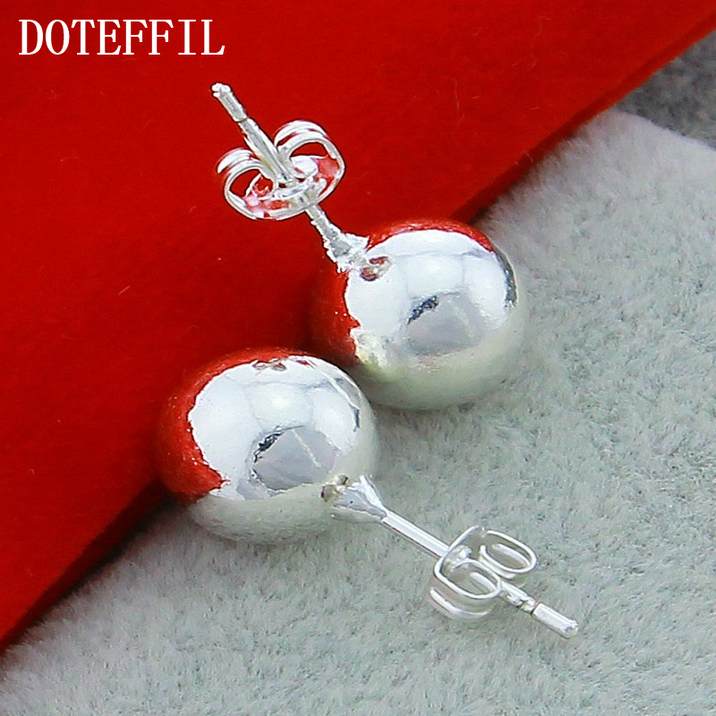 2018 Hot Sales 925 Sterling Silver Jewelry Earrings Fashion Simple 8mm And 10mm High Quality Silver Ball Earrings Free Shipping