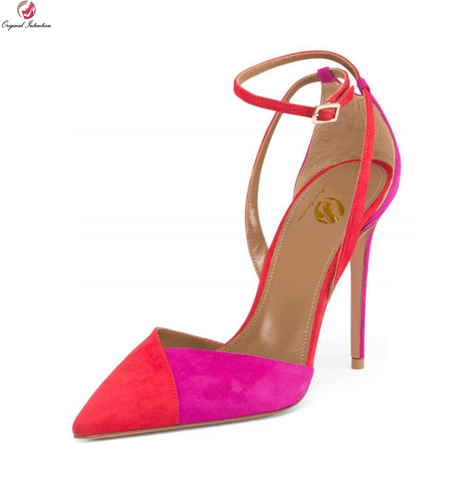 Original Intention New Sexy Women Sandals Fashion Pointed Toe Thin High Heels Sandals Stylish Red Shoes Woman Plus Size 3-10.5 plus size 2017 new summer suede women shoes pointed toe high heels sandals woman work shoes fashion flowers womens heels pumps