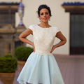 Sky Blue White Short Homecoming Dresses 2016 Sexy Backless Cocktail Dresses with Cap Sleeves Robe de Cocktail Short Prom Gowns